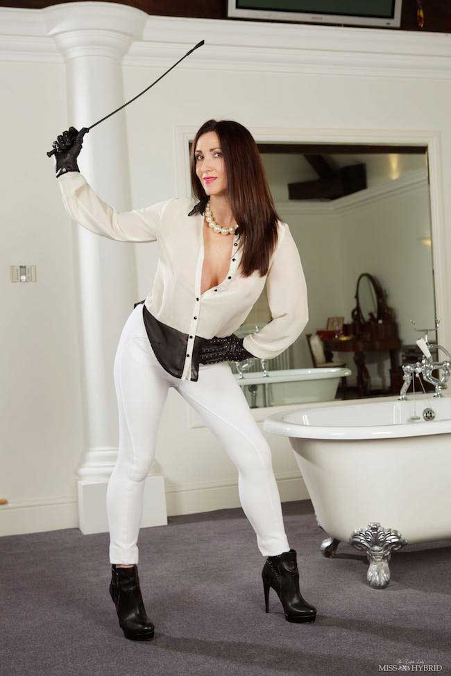 Miss Hybrid sheer blouse with wet jodhpurs.