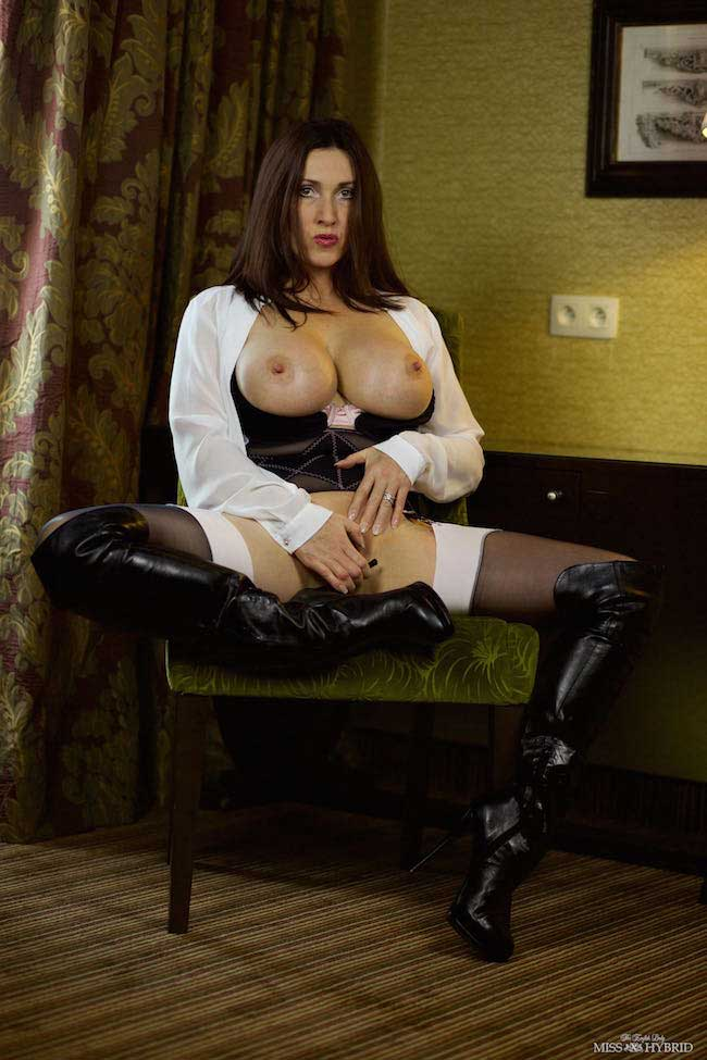 Miss Hybrid sexy stockings suspenders and magnificent tits.