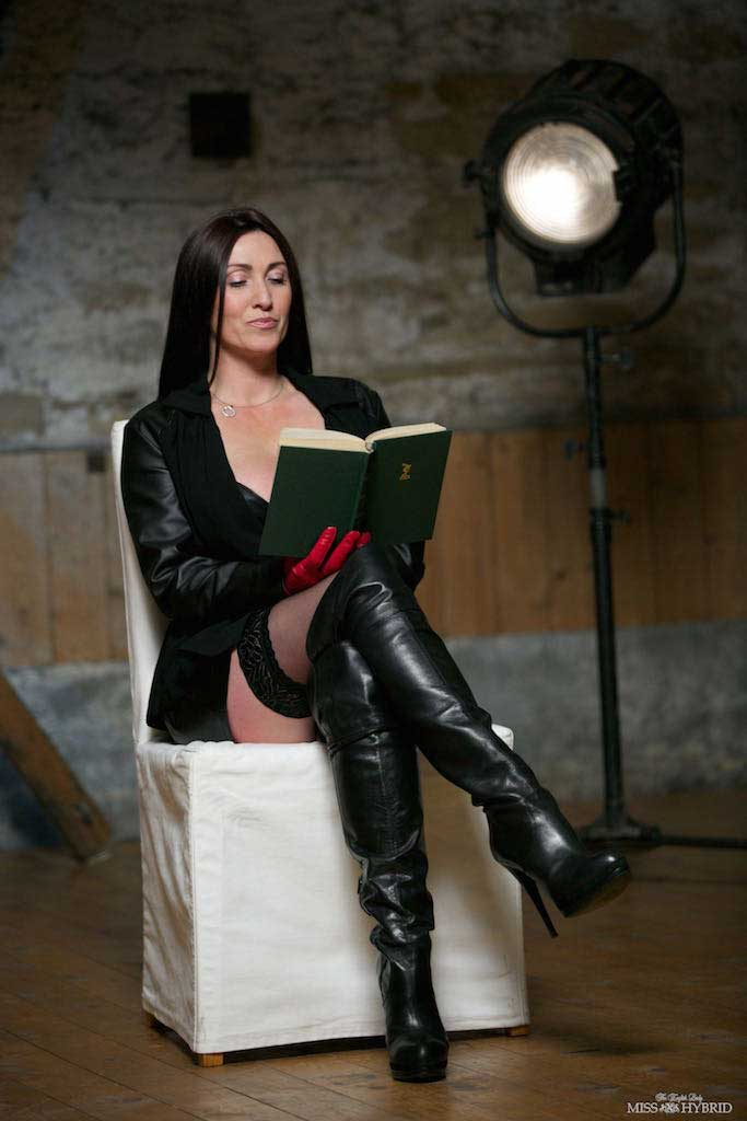 Miss Hybrid erotica sexy leather boots and gloves leather fetish.