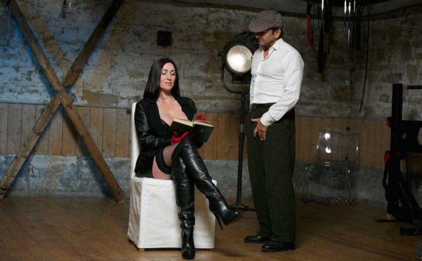 Miss Hybrid nonchalant handjob in the dungeon.