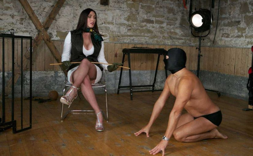 Miss Hybrid sexy nylons, stiletto heels and leather gloves in the dungeon.