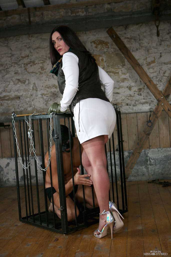 Miss Hybrid sexy stockings and stiletto heels in the manor dungeon with her victim.