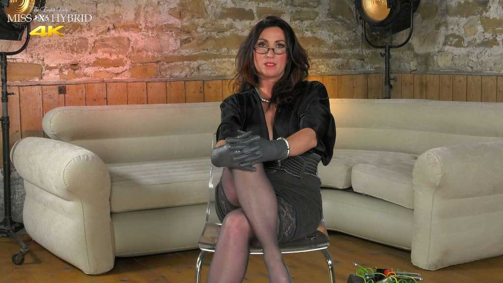 Miss Hybrid sexy stockings and leather gloves strict mistress.