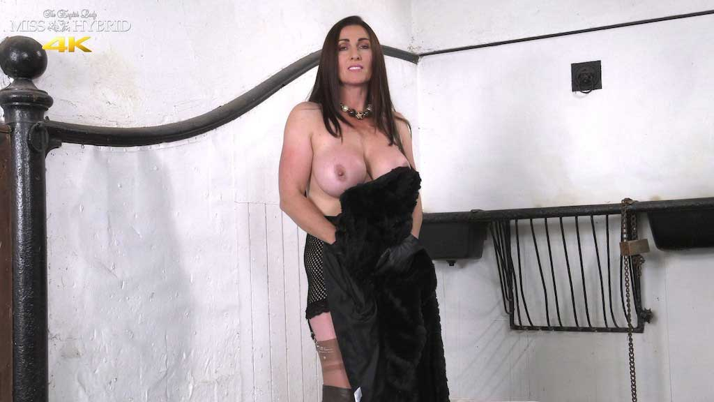 Fully fashioned nylons mistress fur coat and no knickers Miss Hybrid.