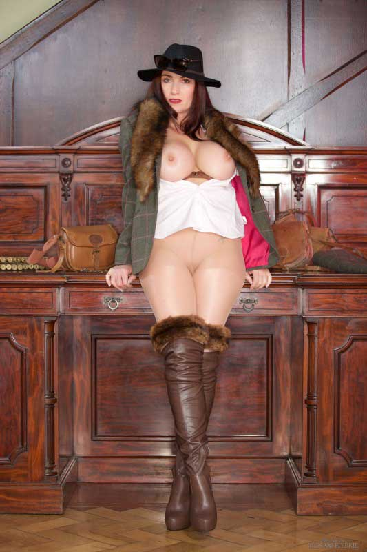 Miss Hybrid sexy boots nylons and big tits.