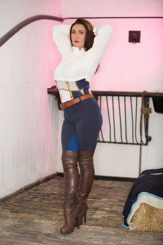 Miss Hybrid boots gloves jodhpurs in the Manor stables.